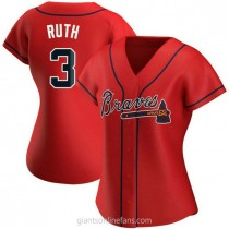Womens Babe Ruth Atlanta Braves #3 Authentic Red Alternate A592 Jersey
