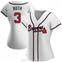 Womens Babe Ruth Atlanta Braves #3 Authentic White Home A592 Jerseys