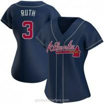 Womens Babe Ruth Atlanta Braves #3 Replica Navy Alternate A592 Jerseys