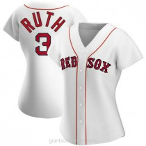 Womens Babe Ruth Babe Ruth Boston Red Sox #3 Authentic White Home A592 Jersey