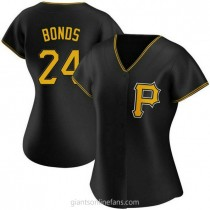 Womens Barry Bonds Pittsburgh Pirates #24 Authentic Black Alternate A592 Jersey