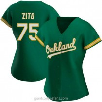 Womens Barry Zito Oakland Athletics #75 Authentic Green Kelly Alternate A592 Jersey