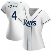Womens Blake Snell Tampa Bay Rays #4 Authentic White Home A592 Jerseys