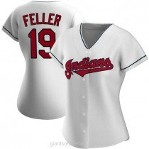 Womens Bob Feller Cleveland Indians #19 Authentic White Home A592 Jerseys