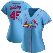 Womens Bob Gibson St Louis Cardinals #45 Light Blue Alternate A592 Jersey Authentic