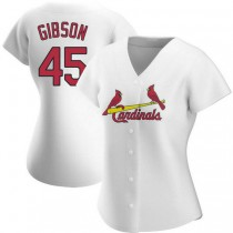 Womens Bob Gibson St Louis Cardinals #45 White Home A592 Jerseys Authentic