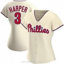 Womens Bryce Harper Philadelphia Phillies #3 Authentic Cream Alternate A592 Jersey