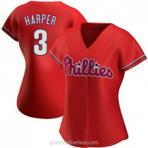 Womens Bryce Harper Philadelphia Phillies #3 Authentic Red Alternate A592 Jersey