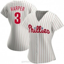 Womens Bryce Harper Philadelphia Phillies #3 Authentic White Home A592 Jersey