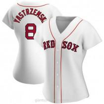 Womens Carl Yastrzemski Boston Red Sox #8 Authentic White Home A592 Jersey