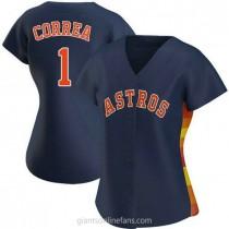 Womens Carlos Correa Houston Astros #1 Authentic Navy Alternate A592 Jersey
