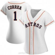 Womens Carlos Correa Houston Astros #1 Replica White Home A592 Jerseys