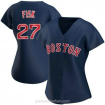 Womens Carlton Fisk Boston Red Sox #27 Authentic Navy Alternate A592 Jersey
