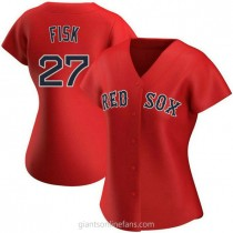 Womens Carlton Fisk Boston Red Sox #27 Authentic Red Alternate A592 Jersey
