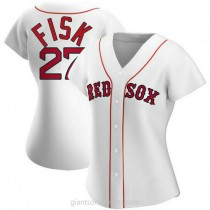 Womens Carlton Fisk Boston Red Sox #27 Authentic White Home A592 Jersey