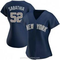 Womens Cc Sabathia New York Yankees #52 Authentic Navy Alternate A592 Jersey