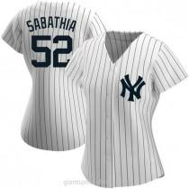 Womens Cc Sabathia New York Yankees #52 Replica White Home Name A592 Jerseys