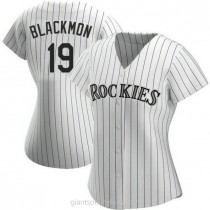 Womens Charlie Blackmon Colorado Rockies #19 Authentic White Home A592 Jersey