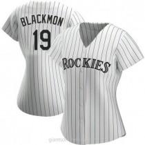 Womens Charlie Blackmon Colorado Rockies #19 Authentic White Home A592 Jerseys