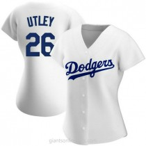 Womens Chase Utley Los Angeles Dodgers #26 Authentic White Home A592 Jerseys