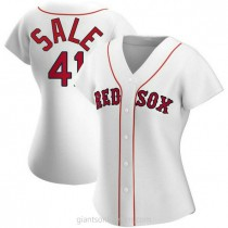 Womens Chris Sale Boston Red Sox #41 Authentic White Home A592 Jersey