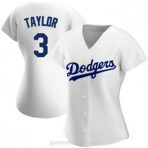 Womens Chris Taylor Los Angeles Dodgers #3 Authentic White Home A592 Jersey