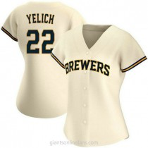 Womens Christian Yelich Milwaukee Brewers #22 Authentic Cream Home A592 Jersey