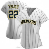 Womens Christian Yelich Milwaukee Brewers #22 Authentic White Navy Alternate A592 Jersey