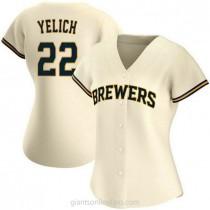 Womens Christian Yelich Milwaukee Brewers #22 Replica Cream Home A592 Jersey