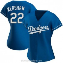 Womens Clayton Kershaw Los Angeles Dodgers #22 Authentic Royal Alternate A592 Jersey