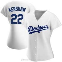 Womens Clayton Kershaw Los Angeles Dodgers #22 Authentic White Home A592 Jerseys