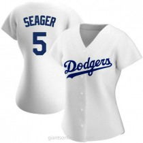 Womens Corey Seager Los Angeles Dodgers #5 Authentic White Home A592 Jersey