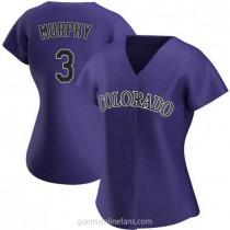 Womens Dale Murphy Colorado Rockies #3 Authentic Purple Alternate A592 Jersey