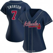 Womens Dansby Swanson Atlanta Braves #7 Authentic Navy Alternate A592 Jersey