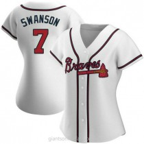Womens Dansby Swanson Atlanta Braves #7 Authentic White Home A592 Jerseys