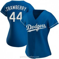 Womens Darryl Strawberry Los Angeles Dodgers #44 Authentic Royal Alternate A592 Jerseys