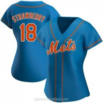 Womens Darryl Strawberry New York Mets #18 Authentic Royal Alternate A592 Jersey