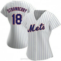 Womens Darryl Strawberry New York Mets #18 Authentic White Home A592 Jersey