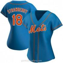 Womens Darryl Strawberry New York Mets #18 Replica Royal Alternate A592 Jersey