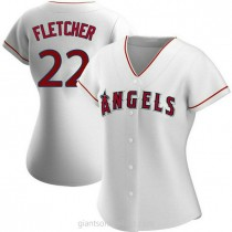Womens David Fletcher Los Angeles Angels Of Anaheim #22 Authentic White Home A592 Jerseys