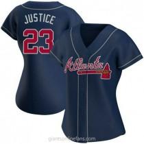Womens David Justice Atlanta Braves #23 Authentic Navy Alternate A592 Jersey