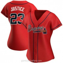 Womens David Justice Atlanta Braves #23 Authentic Red Alternate A592 Jersey