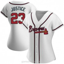 Womens David Justice Atlanta Braves #23 Authentic White Home A592 Jerseys
