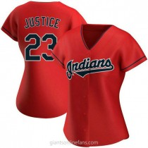 Womens David Justice Cleveland Indians #23 Authentic Red Alternate A592 Jersey