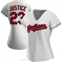 Womens David Justice Cleveland Indians #23 Replica White Home A592 Jersey