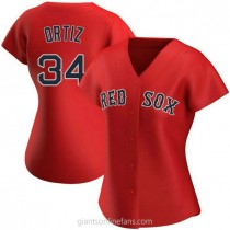 Womens David Ortiz Boston Red Sox #34 Authentic Red Alternate A592 Jersey