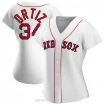 Womens David Ortiz Boston Red Sox #34 Authentic White Home A592 Jersey