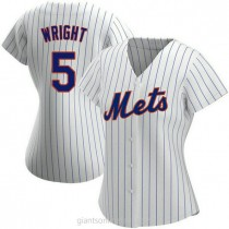 Womens David Wright New York Mets #5 Authentic White Home A592 Jersey
