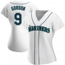 Womens Dee Gordon Seattle Mariners #9 Replica White Home A592 Jerseys
