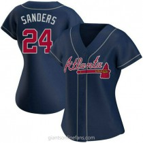 Womens Deion Sanders Atlanta Braves #24 Authentic Navy Alternate A592 Jerseys